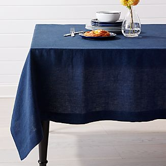 "Helena Indigo Blue Linen Tablecloth 60""x144"""