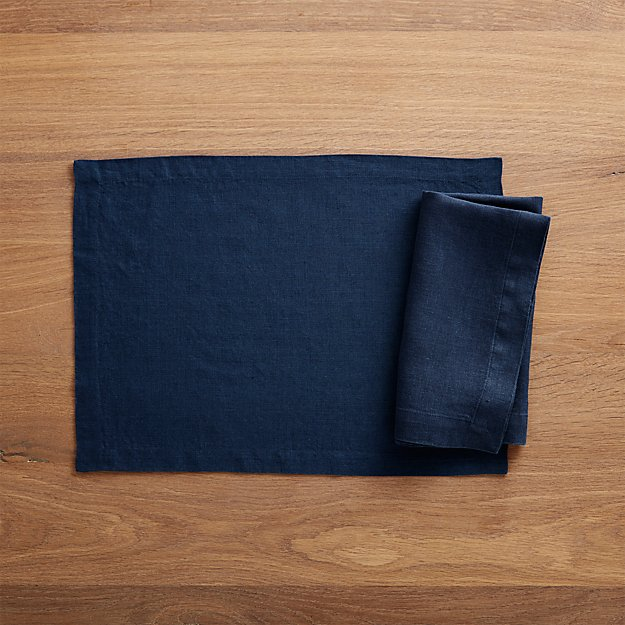 Helena Indigo Blue Linen Placemat and Napkin