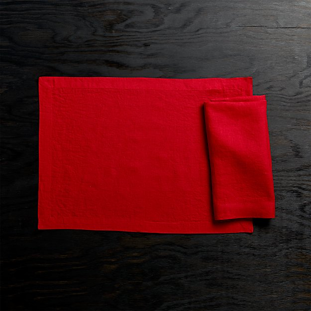 Helena Red Linen Placemat and Napkin