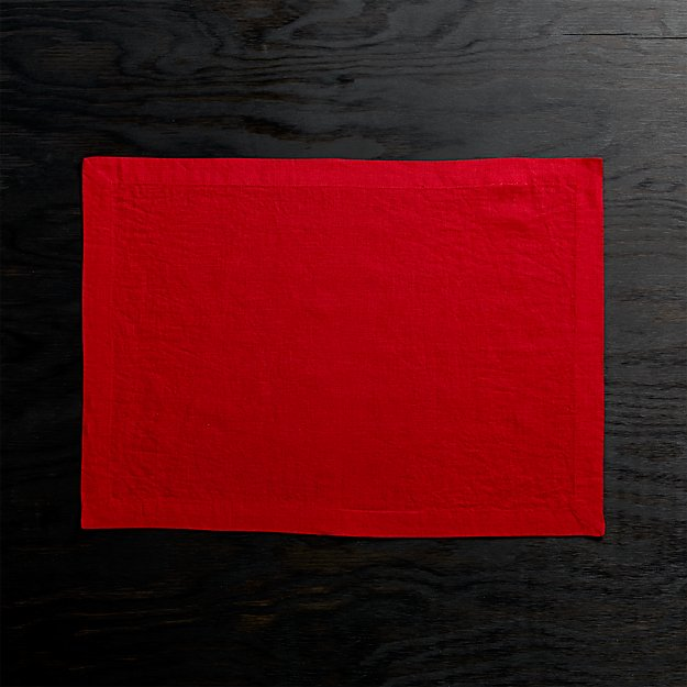 Helena Red Linen Placemat