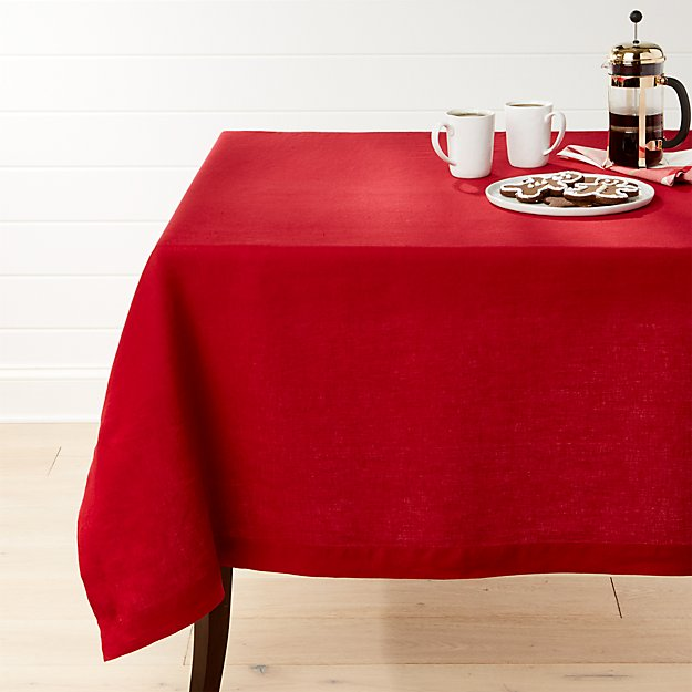Helena Red Linen Tablecloth