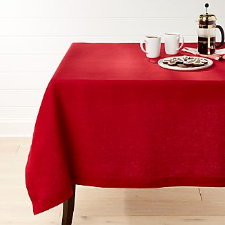 """Helena Red Linen 60""""x90"""" Tablecloth"""