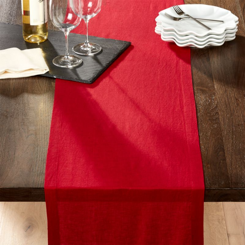 Helena 90 Quot Red Linen Table Runner Reviews Crate And Barrel