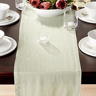 "Helena Sage Green Linen 90"" Table Runner"