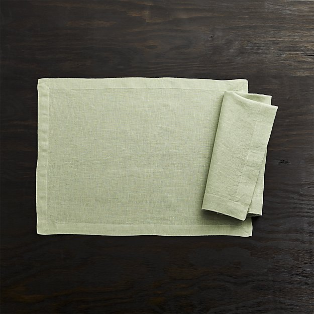 Helena Sage Green Linen Placemat and Napkin