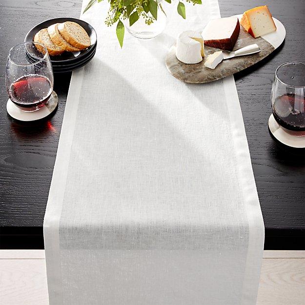 "Helena Vanilla Linen 90"" Table Runner - Image 1 of 2"