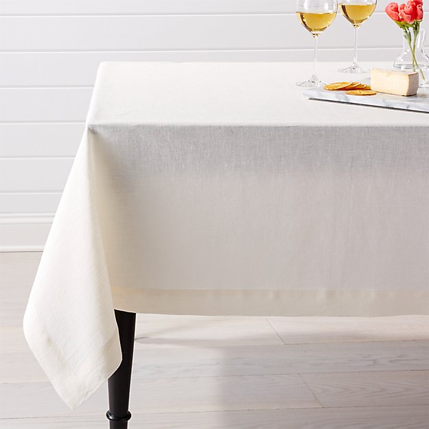 "Helena Vanilla Linen Tablecloth 60""x120"""