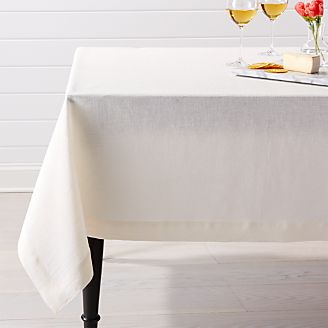 Helena Vanilla Linen Tablecloth. Selected Color: Vanilla