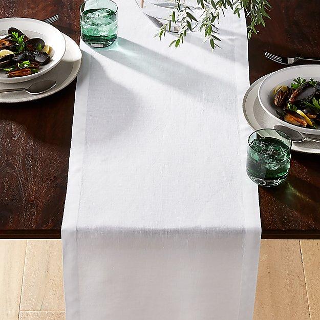 Helena White Linen Table Runner - Image 1 of 1