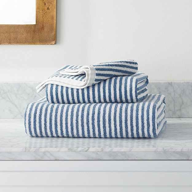 Hemi Organic Blue Stripe Bath Towels - Image 1 of 4