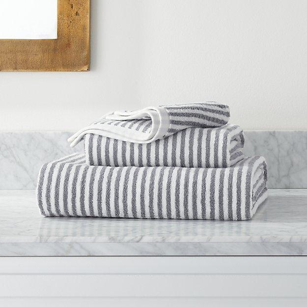 Hemi Organic Grey Stripe Bath Towels - Image 1 of 4