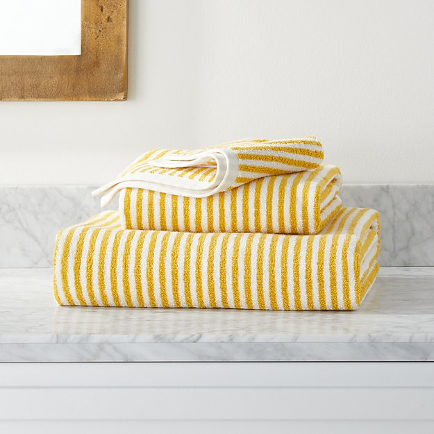 Hemi Organic Yellow Stripe Bath Towels - Image 1 of 4