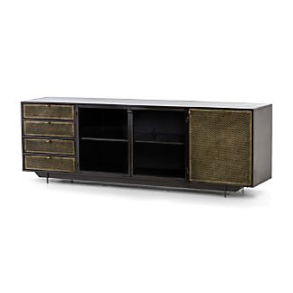industrial media furniture large wood metal langley storage hendrick media console industrial consoles crate and barrel