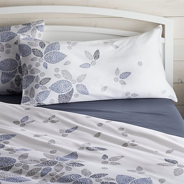 Henna Leaf Blue King Pillow Sham