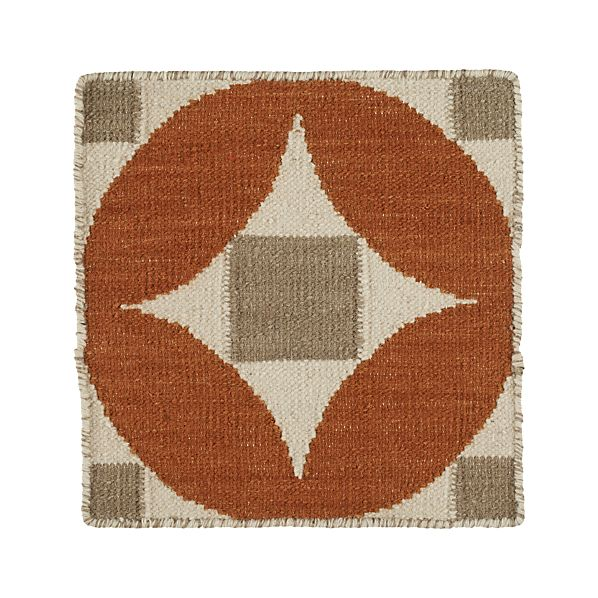 "Henny Orange Wool 12"" sq. Rug Swatch"