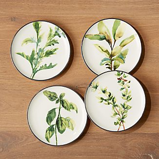 Herb Plates Set of 4 & Portugal Dinnerware | Crate and Barrel