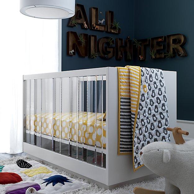 Baby Crib Bedding Baby Grey Amp Yellow Patterned Crib