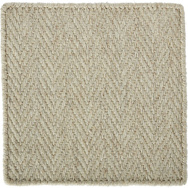 "Herringbone Ivory Wool-Blend 12"" sq. Rug Swatch"