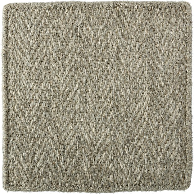 "Herringbone Silver Wool-Blend 12"" sq. Rug Swatch"