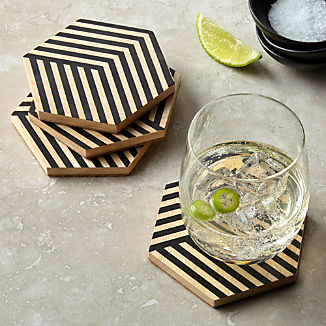 Hex Painted Coasters, Set of 4