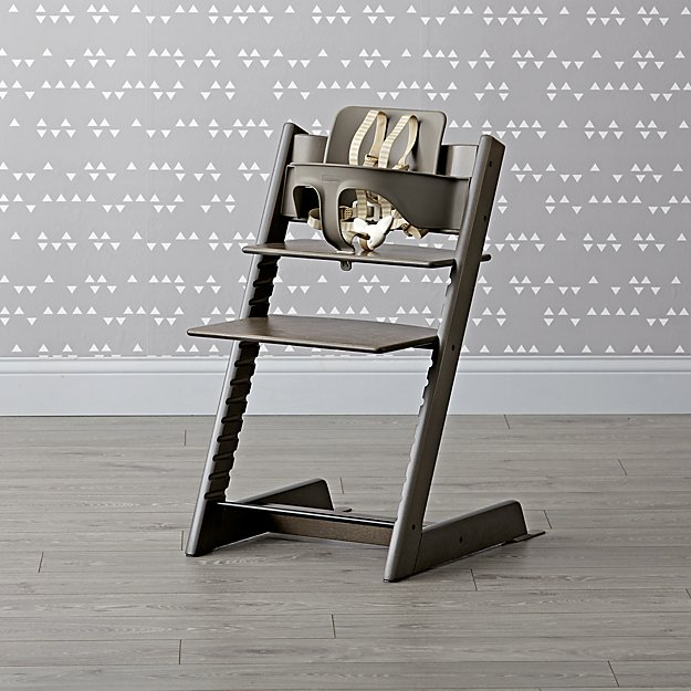 Hazy Grey Stokke Tripp Trapp Chair Baby Set + Reviews   Crate and Barrel