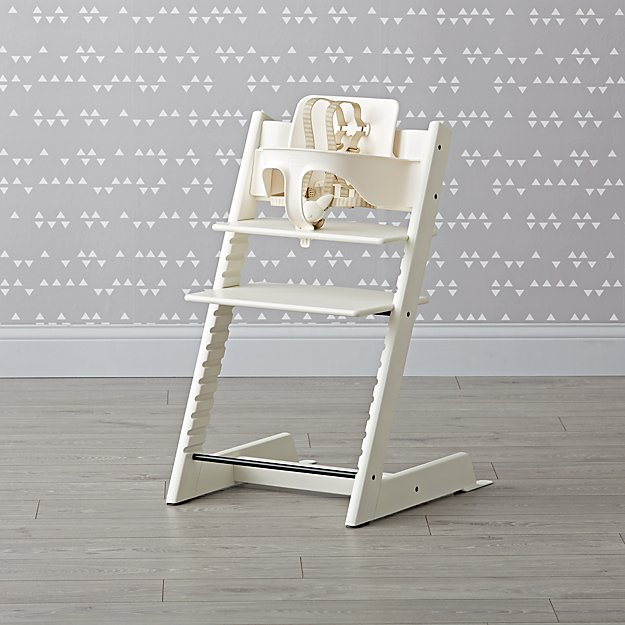 White Stokke Tripp Trapp Chair Baby Set + Reviews   Crate and Barrel