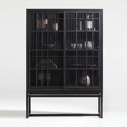 Highland Black Cabinet with Sliding Doors