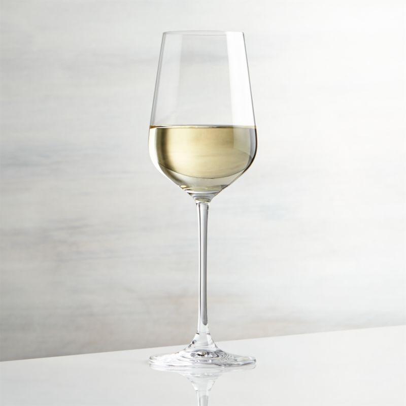 Oversized wine glass has a refined modern profile with flared bowl, slender stem and fine rim.<br /><br /><NEWTAG/><ul><li>Glass</li><li>14 oz.</li><li>Dishwasher-safe</li><li>Made in Thailand</li></ul>