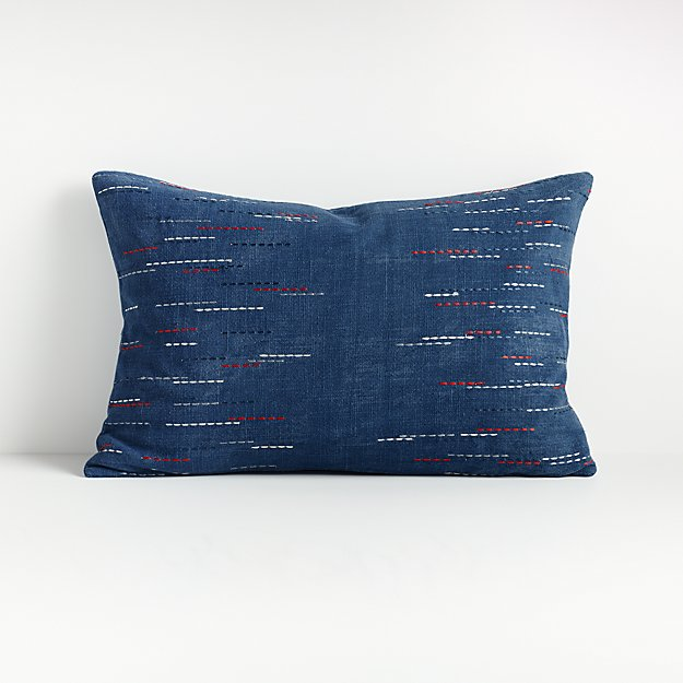 "Hira Blue Lumbar Pillow 22""x15"" - Image 1 of 6"