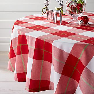 "Holiday Plaid 60"" Round Tablecloth"
