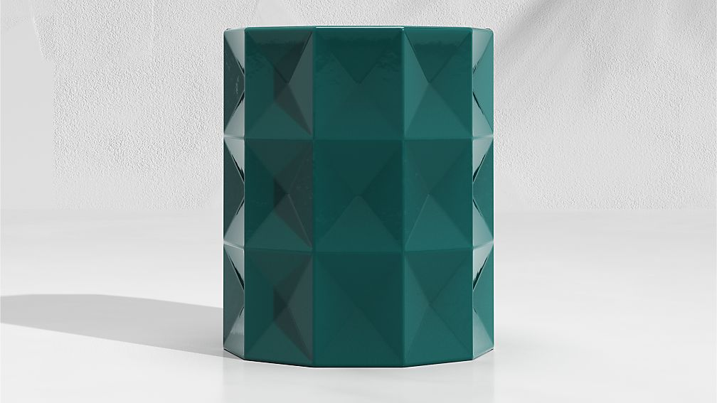 Hunter Green Faceted Garden Stool End Table - Image 1 of 5