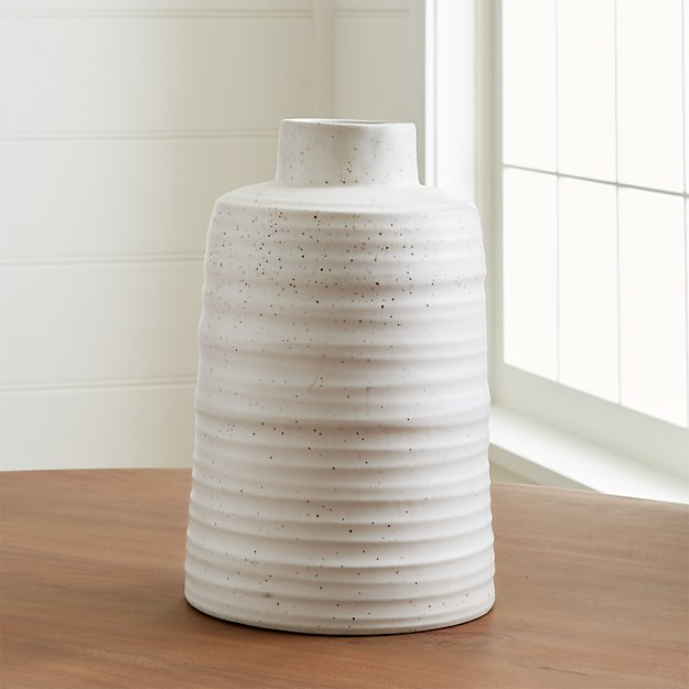 Holden White Ribbed Vase Reviews Crate And Barrel