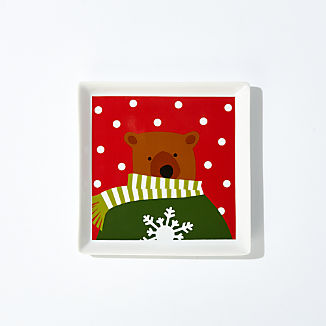 Holiday Bears Square Appetizer Plate
