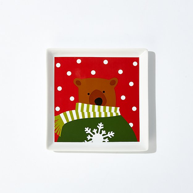 Holiday Bears Square Appetizer Plate - Image 1 of 5