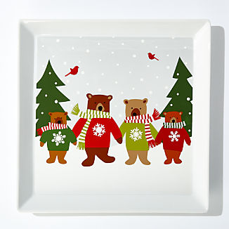 Holiday Bears Square Platter