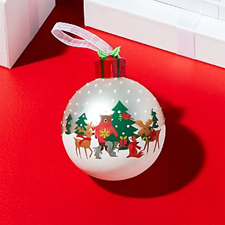 holiday critter ball ornament with present topper