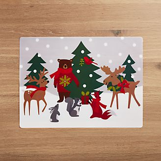 holiday critters easy care placemat - Christmas Placemats And Napkins