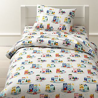 Organic Holiday City Flannel Toddler Bedding Kids