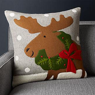 "Holiday Moose Pillow 20"""
