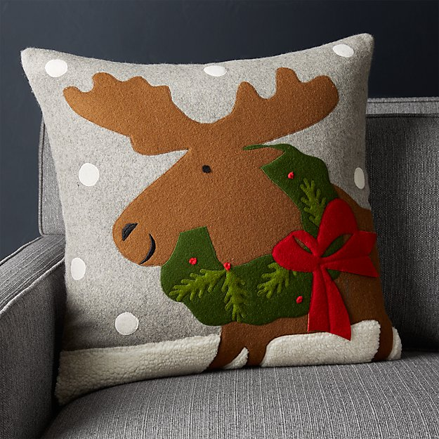 """Holiday Moose Pillow 20"""" - Image 1 of 8"""