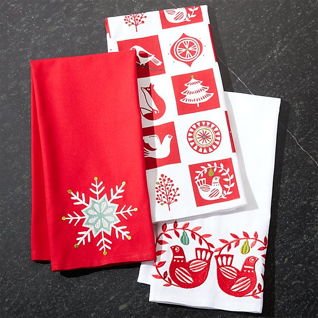Holiday Partridge Dish Towels Set Of 3 Reviews Crate And Barrel