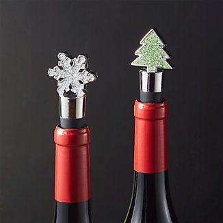 Holiday Shimmer Bottle Stoppers, Set of 2