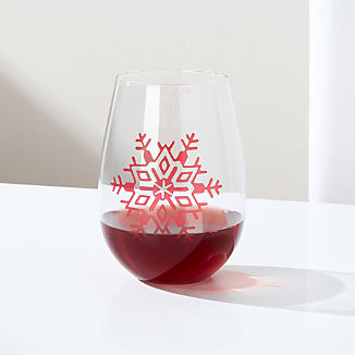 Holiday Snowflake Stemless Wine Glass