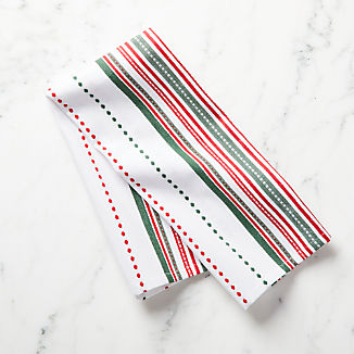 Holiday Stitched Stripe Dish Towel