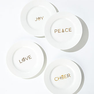 Holiday Words Salad Plates, Set of 4