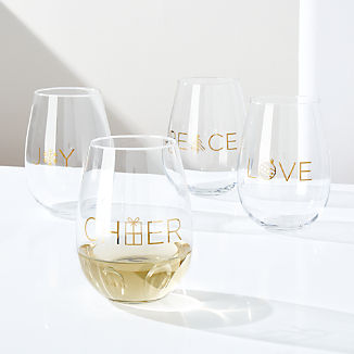 Holiday Words 18-Oz. Stemless Wine Glasses, Set of 4