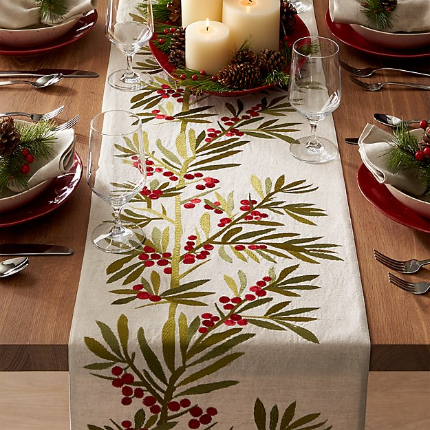 Holly Embroidered Table Runner Crate And Barrel