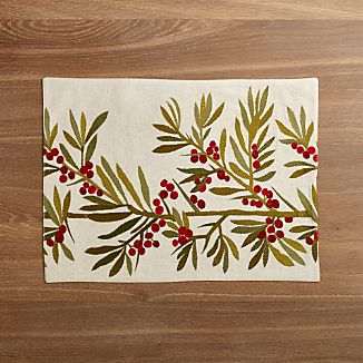 Holly Embroidered Placemat