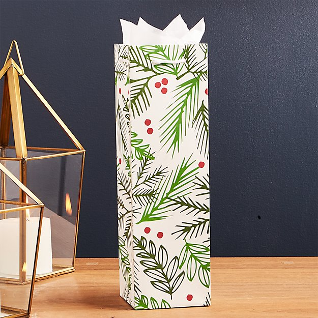Holly with Berries Wine Gift Bag