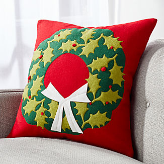 Holly Wreath Pillow